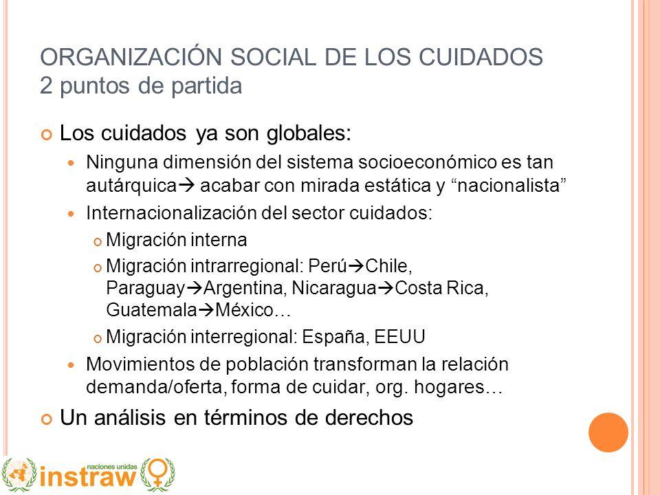 ORGANIZACIÓN SOCIAL DE LOS CUIDADOS 2 puntos de partida Los cuidados ya son globales: Ninguna dimensión del sistema socioeconómico es tan autárquica a