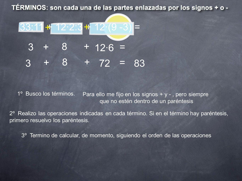 33:11 + 12·2:3 + 12·(9 -3) = 1º Busco los términos. Para ello me fijo en los signos + y -, pero siempre que no estén dentro de un paréntesis + + 2º Re