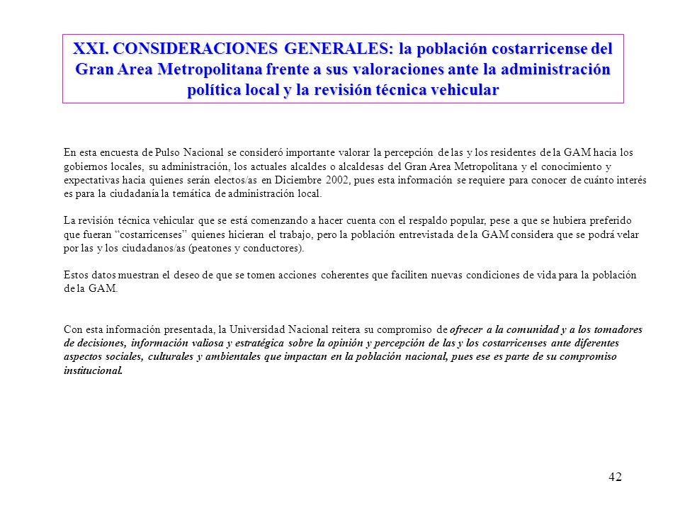42 XXI. CONSIDERACIONES GENERALES: la población costarricense del Gran Area Metropolitana frente a sus valoraciones ante la administración política lo