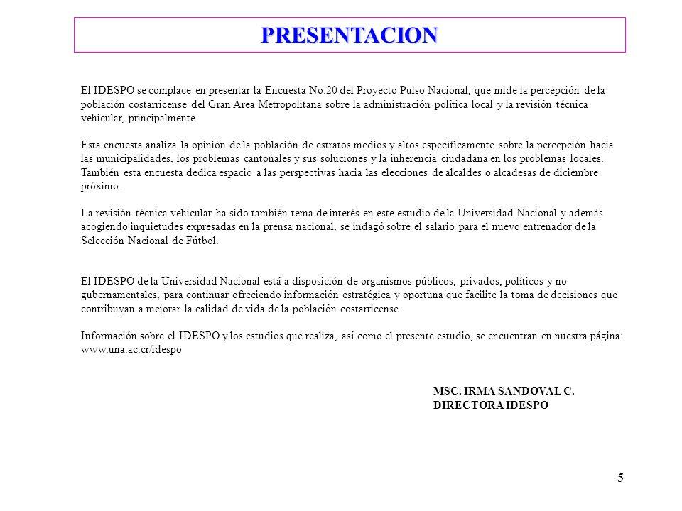 5 PRESENTACION El IDESPO se complace en presentar la Encuesta No.20 del Proyecto Pulso Nacional, que mide la percepción de la población costarricense
