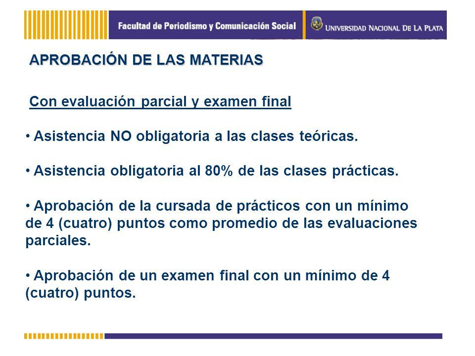 APROBACIÓN DE LAS MATERIAS Con evaluación parcial y examen final Asistencia NO obligatoria a las clases teóricas. Asistencia obligatoria al 80% de las