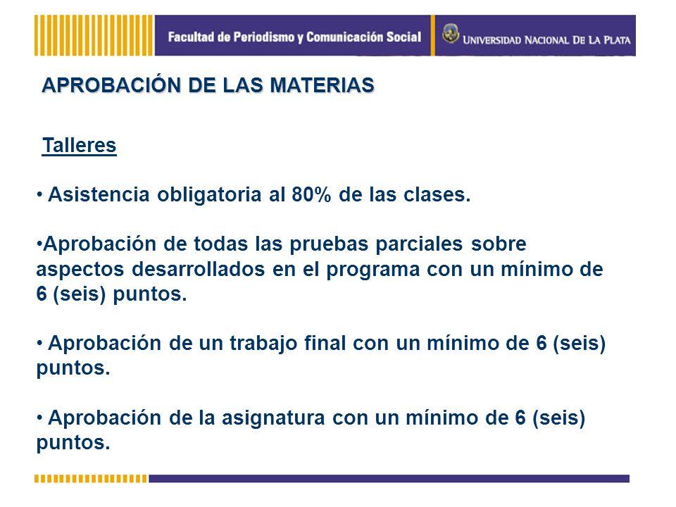 APROBACIÓN DE LAS MATERIAS Talleres Asistencia obligatoria al 80% de las clases. Aprobación de todas las pruebas parciales sobre aspectos desarrollado