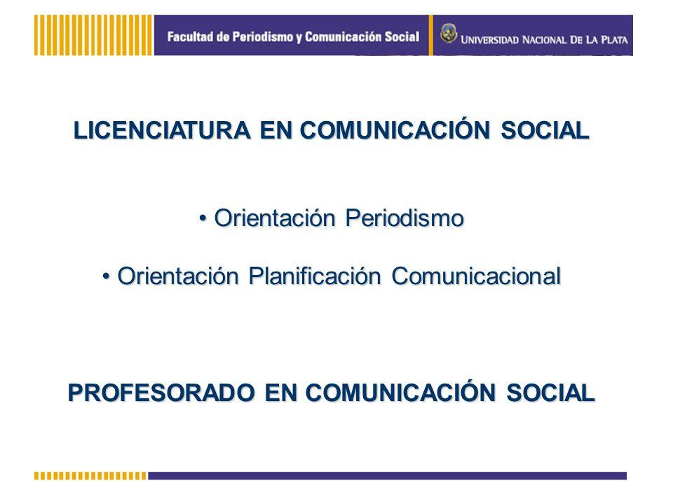 LICENCIATURA EN COMUNICACIÓN SOCIAL Orientación Periodismo Orientación Periodismo Orientación Planificación Comunicacional Orientación Planificación C