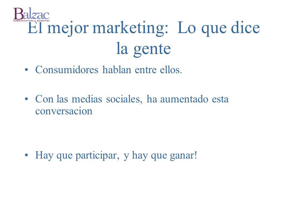 El mejor marketing: Lo que dice la gente Consumidores hablan entre ellos.