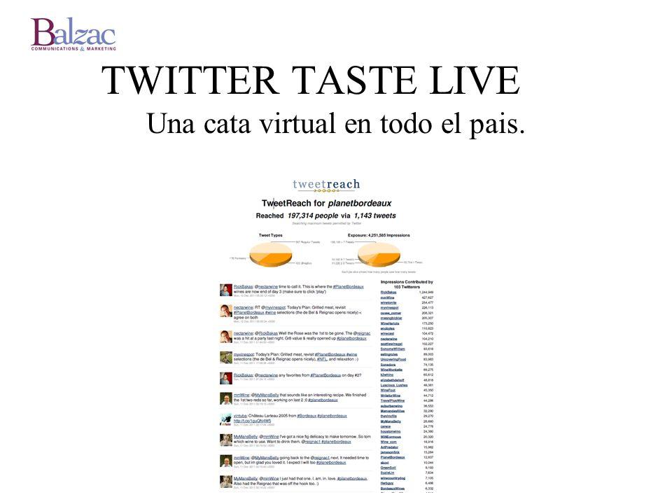 TWITTER TASTE LIVE Una cata virtual en todo el pais.