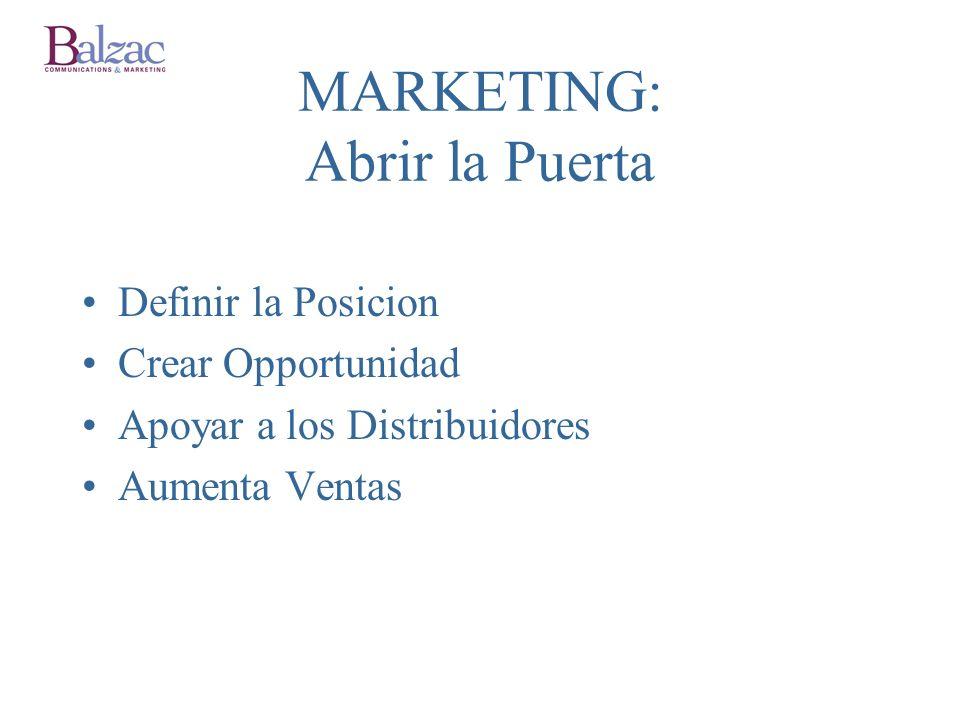 MARKETING: Abrir la Puerta Definir la Posicion Crear Opportunidad Apoyar a los Distribuidores Aumenta Ventas
