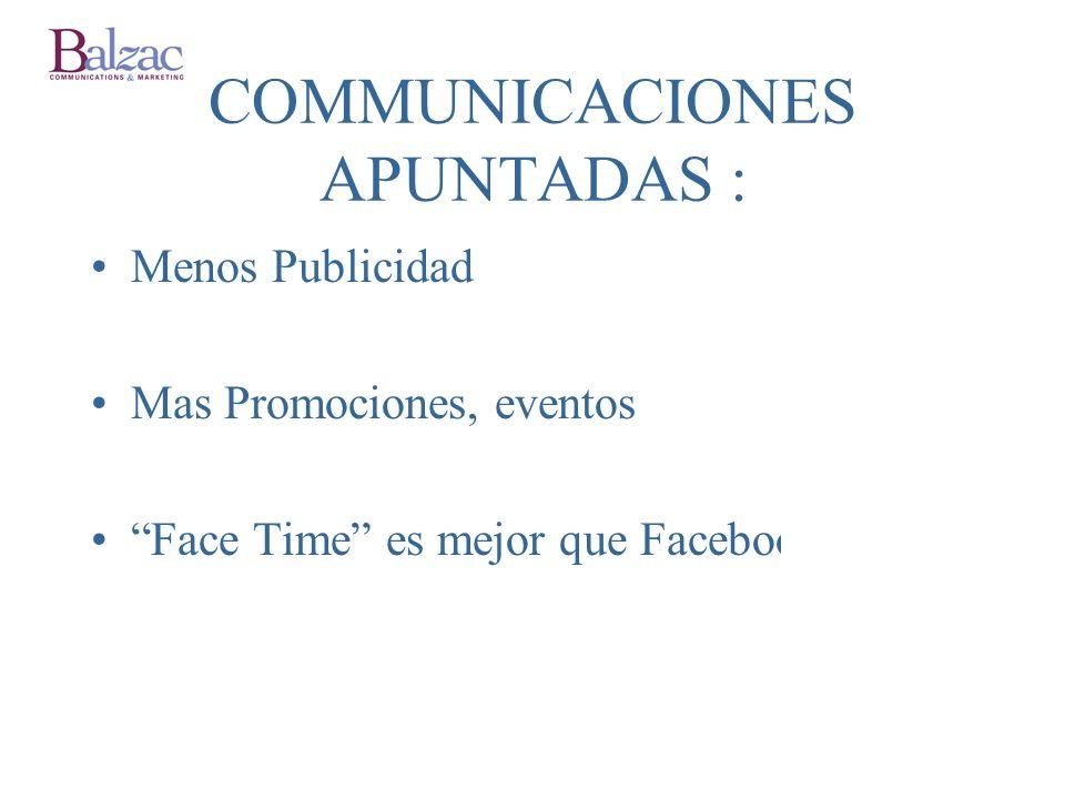 COMMUNICACIONES APUNTADAS : Menos Publicidad Mas Promociones, eventos Face Time es mejor que Facebook