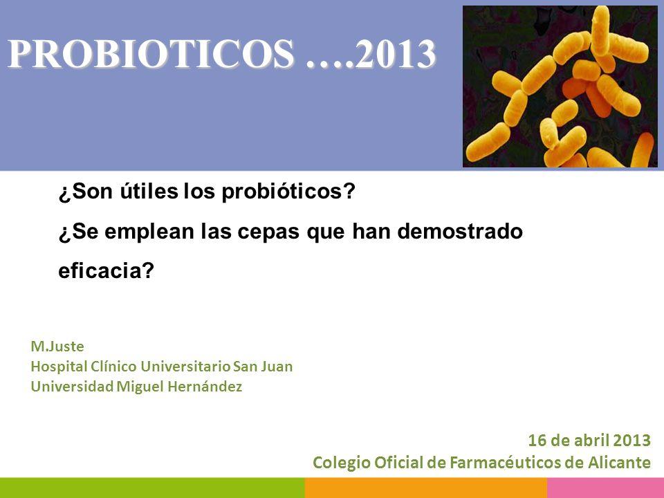 ¿Son útiles los probióticos? ¿Se emplean las cepas que han demostrado eficacia? 16 de abril 2013 Colegio Oficial de Farmacéuticos de Alicante PROBIOTI