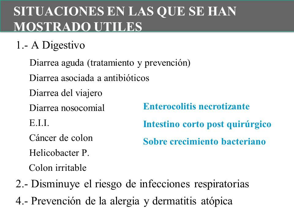 1.- A Digestivo Diarrea aguda (tratamiento y prevención) Diarrea asociada a antibióticos Diarrea del viajero Diarrea nosocomial E.I.I. Cáncer de colon