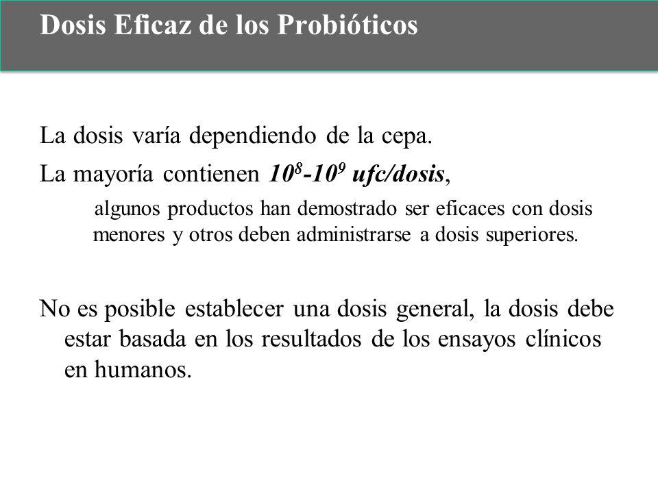La dosis varía dependiendo de la cepa. La mayoría contienen 10 8 -10 9 ufc/dosis, algunos productos han demostrado ser eficaces con dosis menores y ot