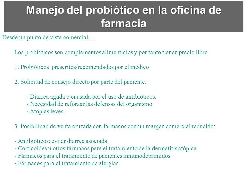 Manejo del probiótico en la oficina de farmacia Desde un punto de vista comercial… Los probióticos son complementos alimenticios y por tanto tienen pr