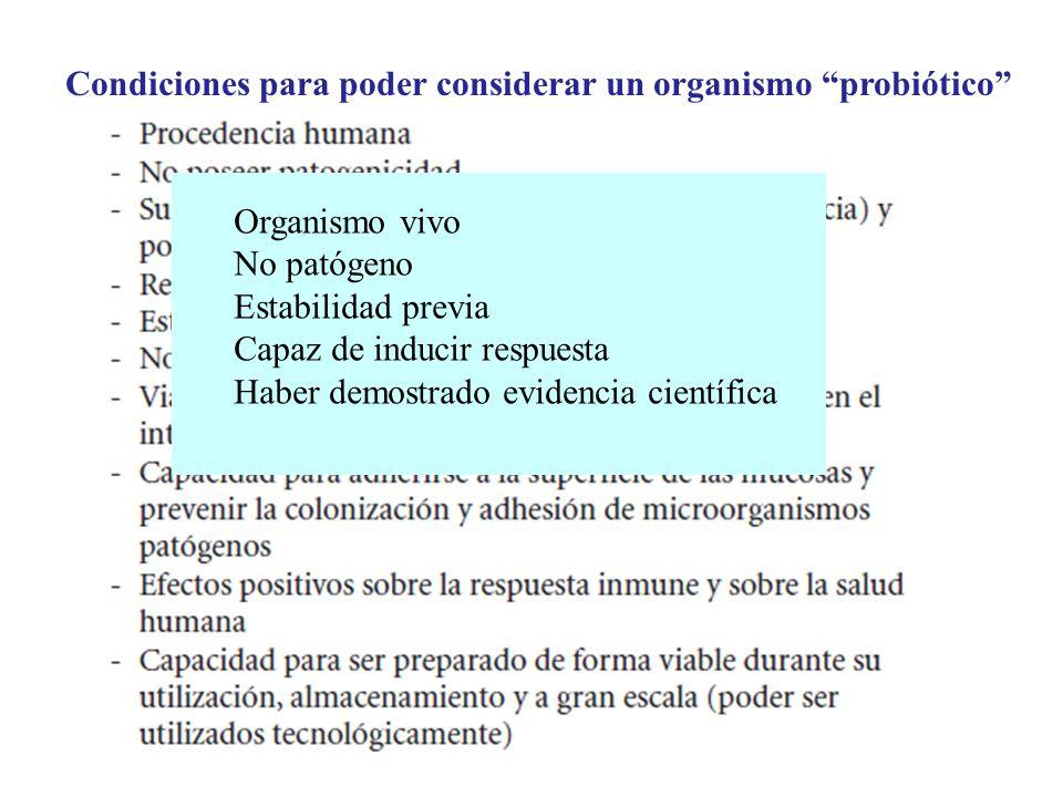 Condiciones para poder considerar un organismo probiótico Organismo vivo No patógeno Estabilidad previa Capaz de inducir respuesta Haber demostrado ev