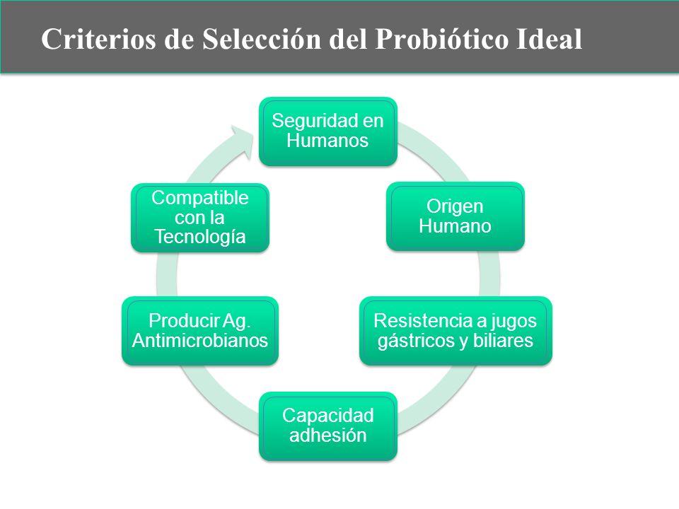 Criterios de Selección del Probiótico Ideal Seguridad en Humanos Origen Humano Resistencia a jugos gástricos y biliares Capacidad adhesión Producir Ag