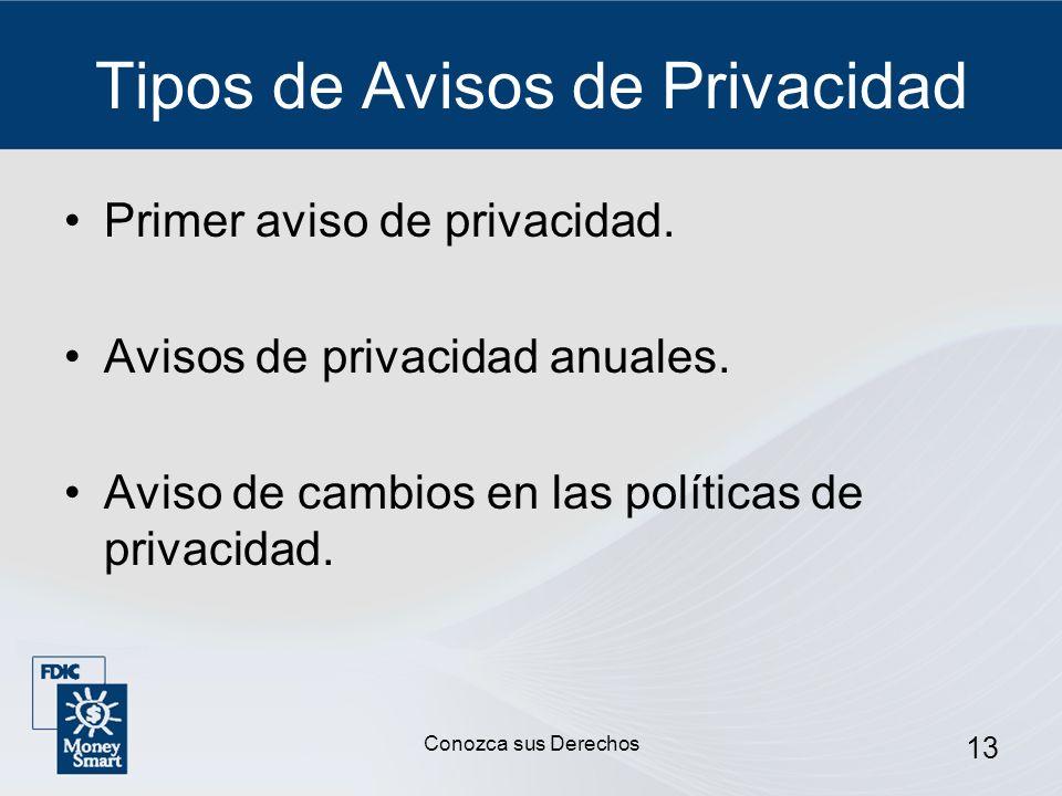 13 Tipos de Avisos de Privacidad Primer aviso de privacidad. Avisos de privacidad anuales. Aviso de cambios en las políticas de privacidad. Conozca su