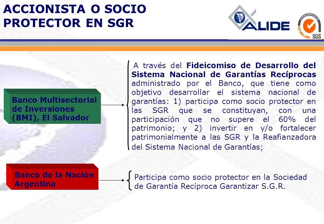 A través del Fideicomiso de Desarrollo del Sistema Nacional de Garantías Recíprocas administrado por el Banco, que tiene como objetivo desarrollar el