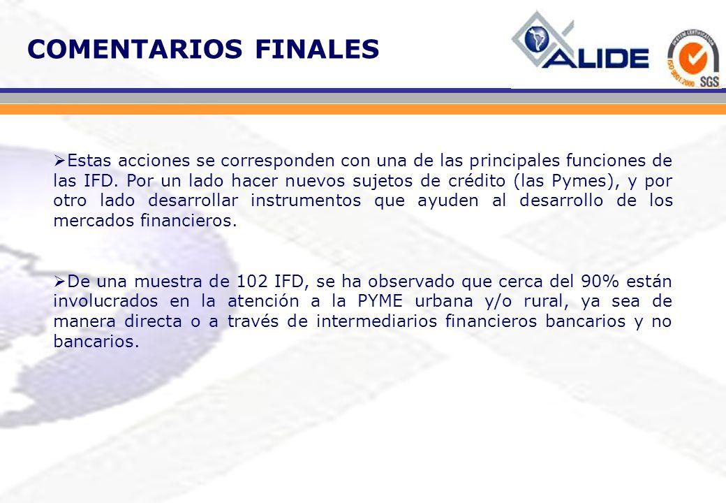 COMENTARIOS FINALES Estas acciones se corresponden con una de las principales funciones de las IFD. Por un lado hacer nuevos sujetos de crédito (las P