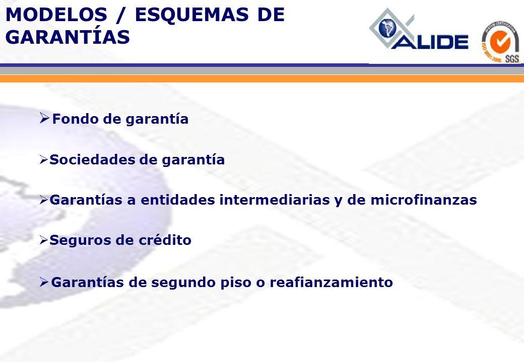 Fondo de garantía Sociedades de garantía Garantías a entidades intermediarias y de microfinanzas Seguros de crédito Garantías de segundo piso o reafia