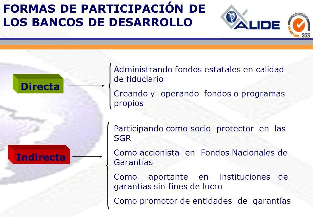 FIDUCIARIO ADMINISTRADOR DE FONDOS ESTATALES Administra el FOGAPYME un fondo público que otorga garantías en respaldo de las que emitan las SGR y los Fondos provinciales, regionales o de la Ciudad de Buenos Aires.