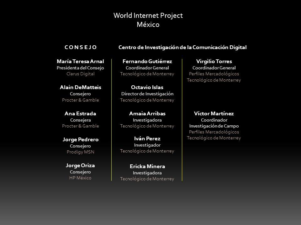 World Internet Project México C O N S E J O María Teresa Arnal Presidenta del Consejo Clarus Digital Alain DeMatteis Consejero Procter & Gamble Ana Es