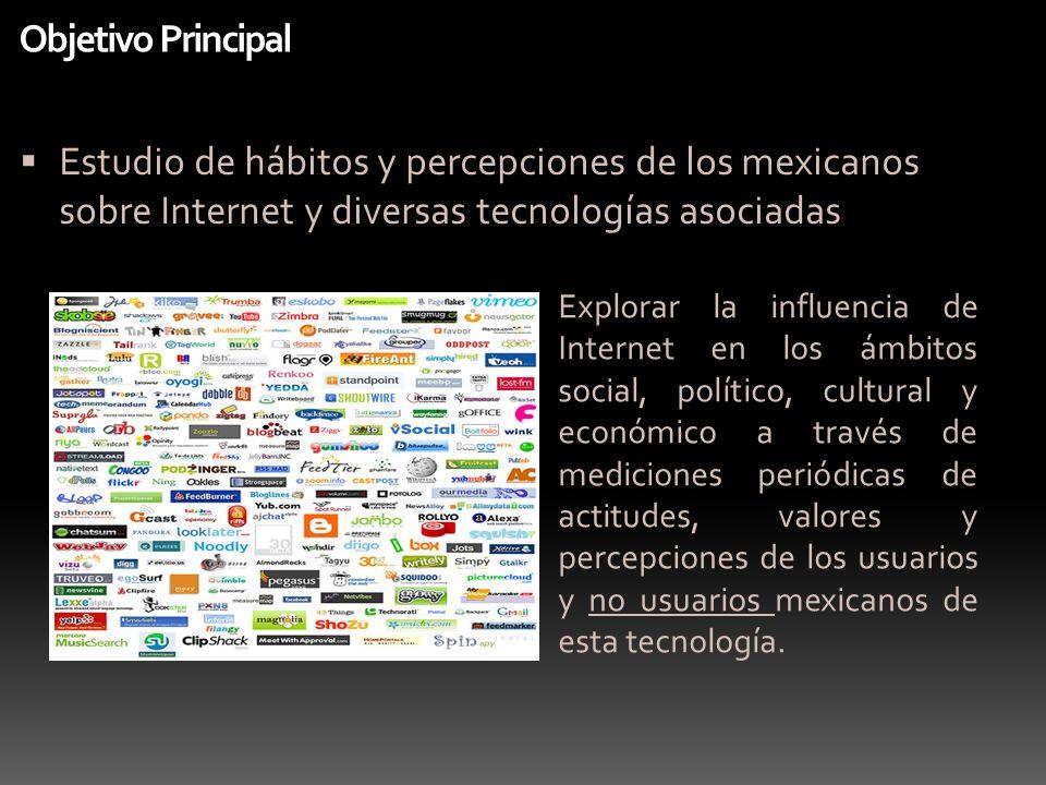 Objetivo Principal Estudio de hábitos y percepciones de los mexicanos sobre Internet y diversas tecnologías asociadas Explorar la influencia de Intern