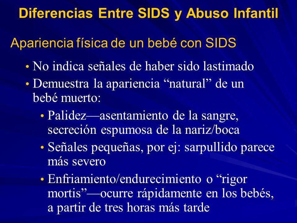 Apariencia física de un bebé con SIDS No indica señales de haber sido lastimado Demuestra la apariencia natural de un bebé muerto: Palidezasentamiento
