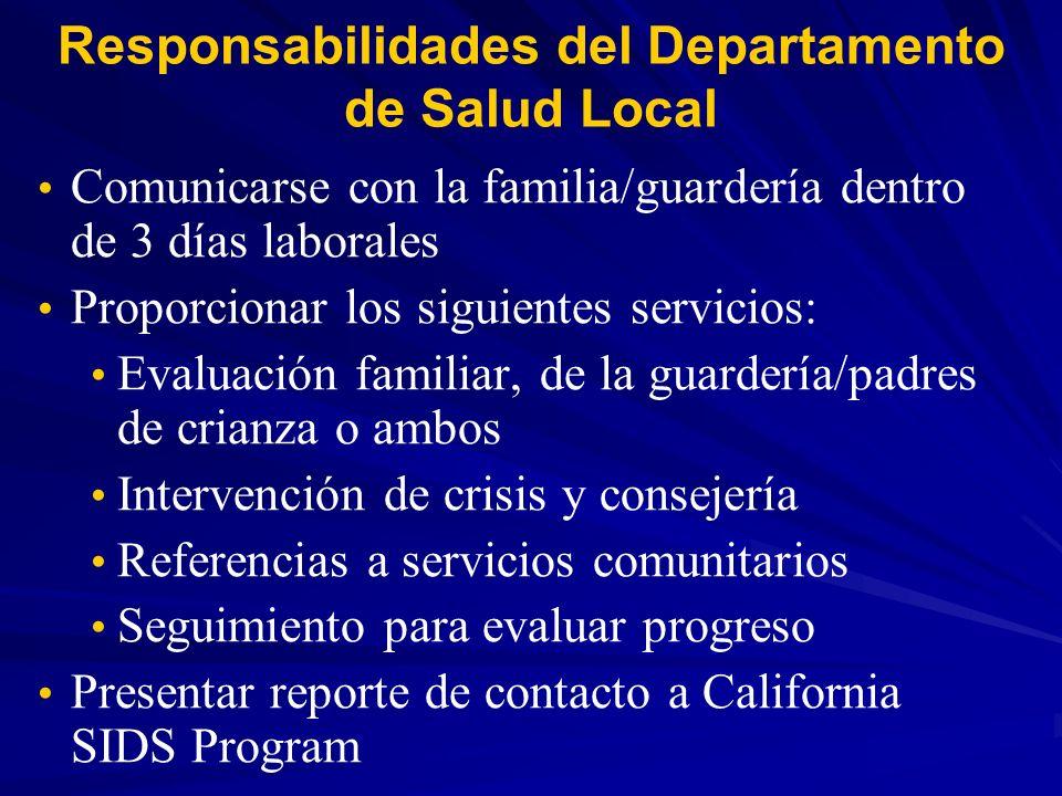 Responsabilidades del Departamento de Salud Local Comunicarse con la familia/guardería dentro de 3 días laborales Proporcionar los siguientes servicio