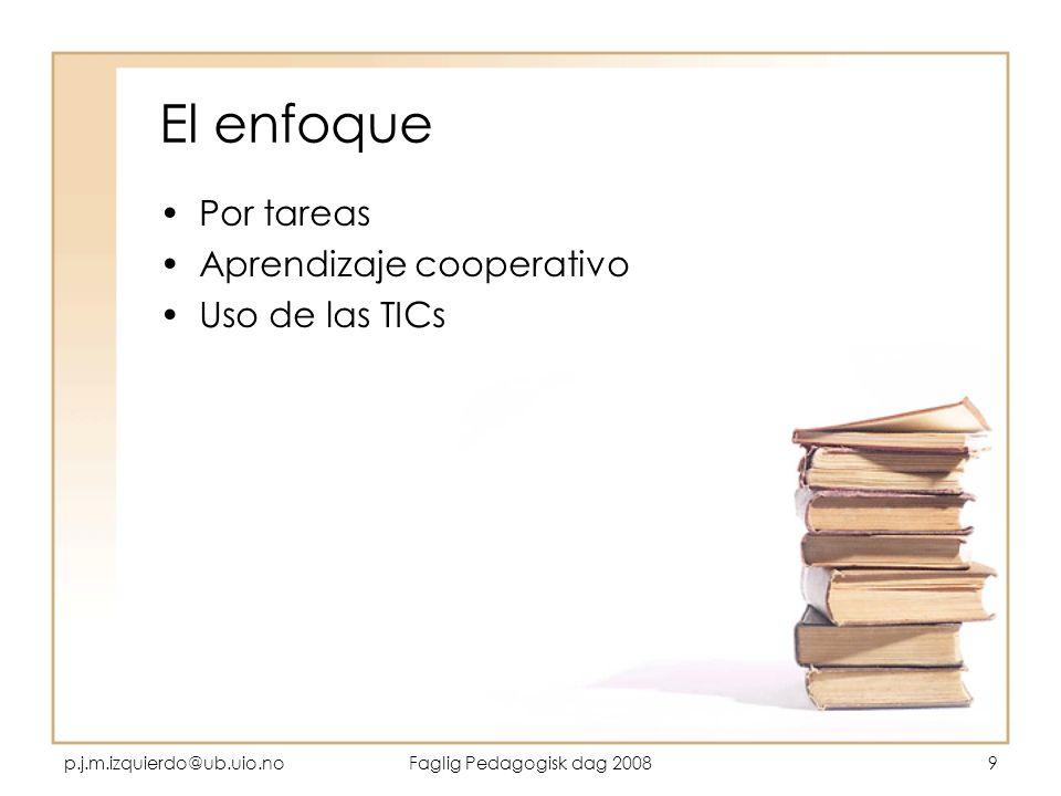 p.j.m.izquierdo@ub.uio.noFaglig Pedagogisk dag 20089 El enfoque Por tareas Aprendizaje cooperativo Uso de las TICs
