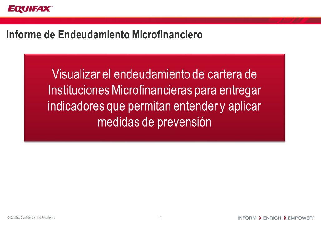 © Equifax Confidential and Proprietary Informe de Endeudamiento Microfinanciero 2 Visualizar el endeudamiento de cartera de Instituciones Microfinanci