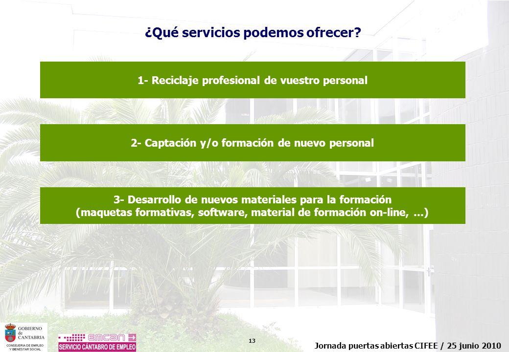 13 Jornada puertas abiertas CIFEE / 25 junio 2010 ¿Qué servicios podemos ofrecer? 1- Reciclaje profesional de vuestro personal 2- Captación y/o formac