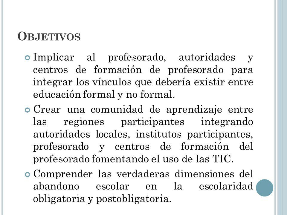 O BJETIVOS Implicar al profesorado, autoridades y centros de formación de profesorado para integrar los vínculos que debería existir entre educación f