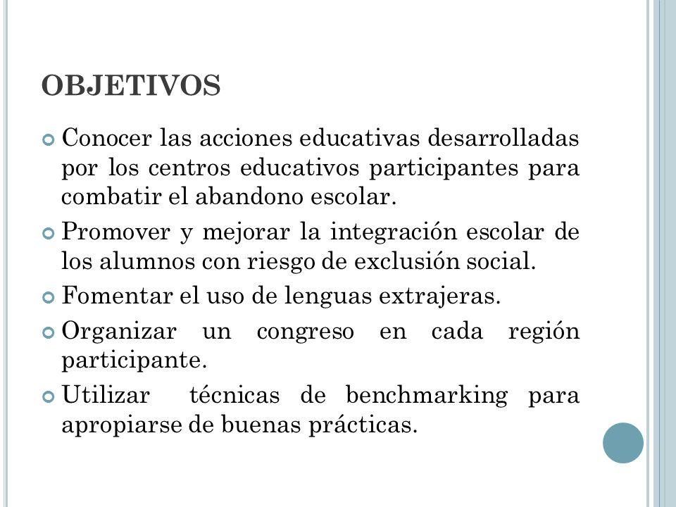 OBJETIVOS Conocer las acciones educativas desarrolladas por los centros educativos participantes para combatir el abandono escolar. Promover y mejorar