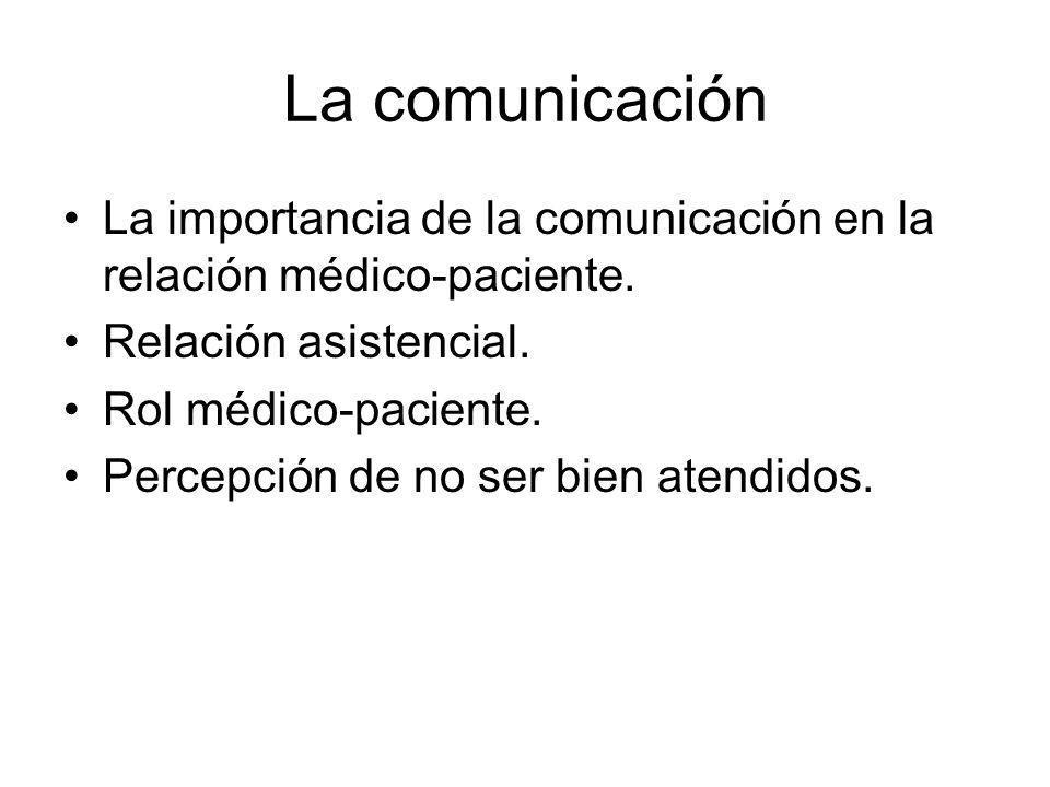 La comunicación La importancia de la comunicación en la relación médico-paciente. Relación asistencial. Rol médico-paciente. Percepción de no ser bien