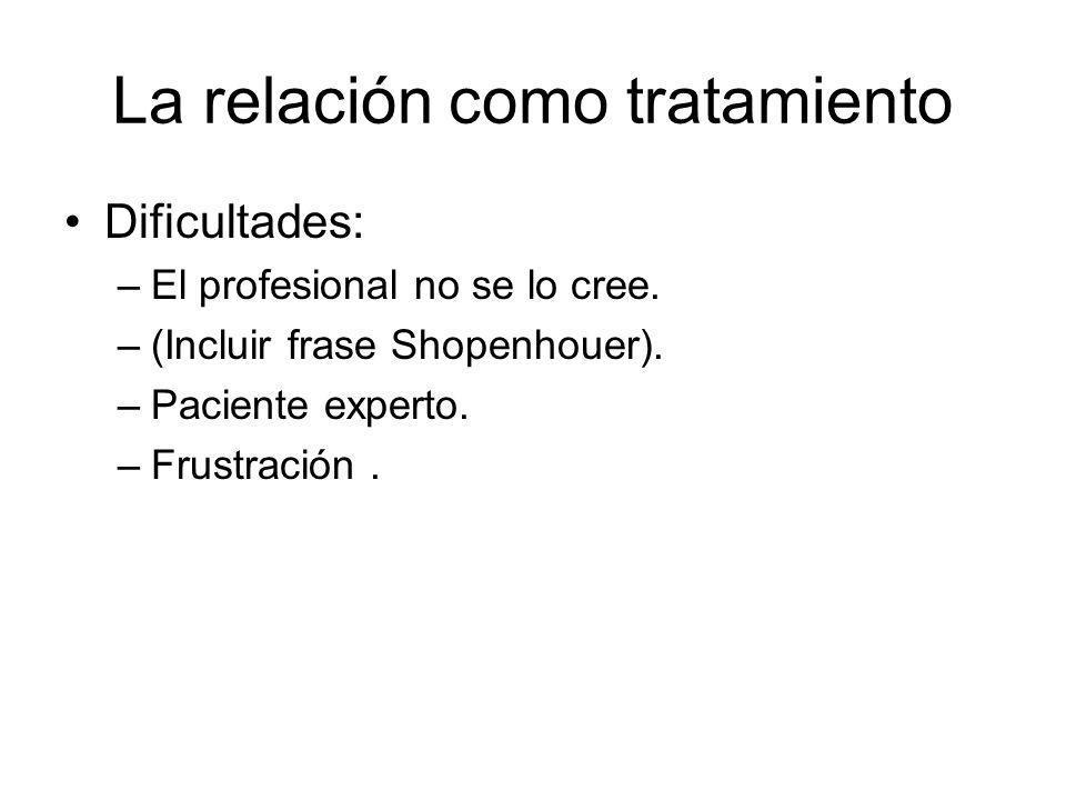 La relación como tratamiento Dificultades: –El profesional no se lo cree. –(Incluir frase Shopenhouer). –Paciente experto. –Frustración.