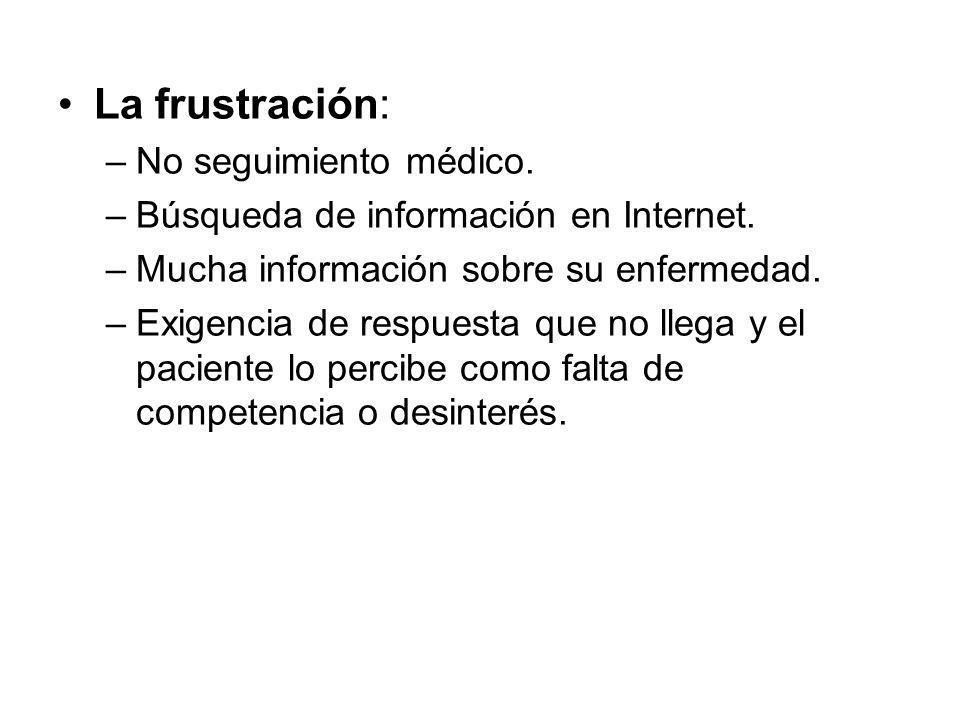 La frustración: –No seguimiento médico. –Búsqueda de información en Internet. –Mucha información sobre su enfermedad. –Exigencia de respuesta que no l