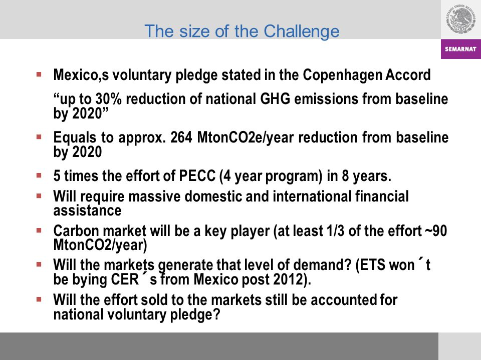 The size of the Challenge Mexico,s voluntary pledge stated in the Copenhagen Accord up to 30% reduction of national GHG emissions from baseline by 2020 Equals to approx.