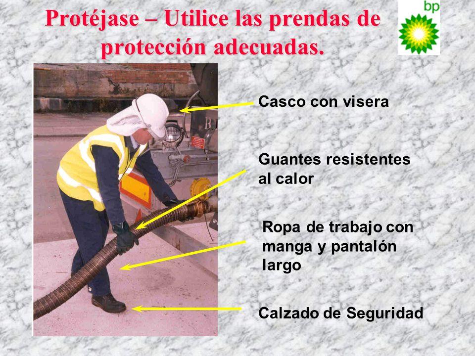 Protéjase – Utilice las prendas de protección adecuadas. Casco con visera Guantes resistentes al calor Ropa de trabajo con manga y pantalón largo Calz