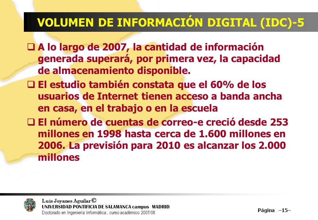 Luis Joyanes Aguilar © UNIVERSIDAD PONTIFICIA DE SALAMANCA campus MADRID Doctorado en Ingeniería Informática, curso académico 2007/08 Página –15– VOLU