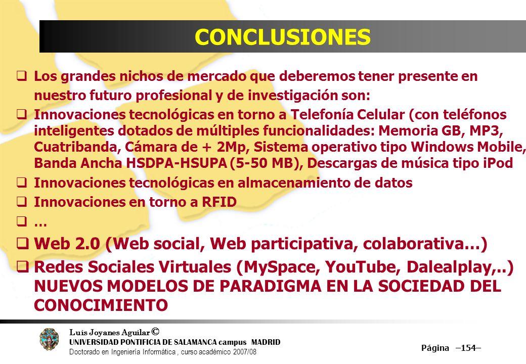 Luis Joyanes Aguilar © UNIVERSIDAD PONTIFICIA DE SALAMANCA campus MADRID Doctorado en Ingeniería Informática, curso académico 2007/08 Página –154– CON
