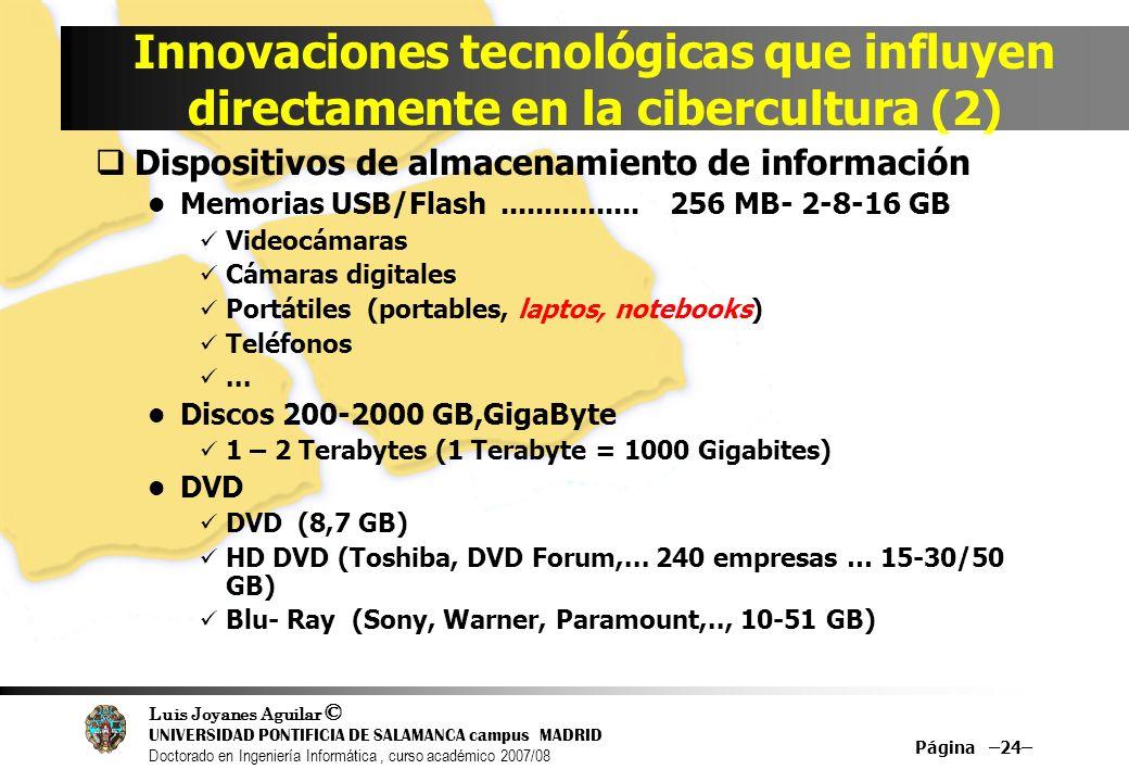 Luis Joyanes Aguilar © UNIVERSIDAD PONTIFICIA DE SALAMANCA campus MADRID Doctorado en Ingeniería Informática, curso académico 2007/08 Página –24– Inno