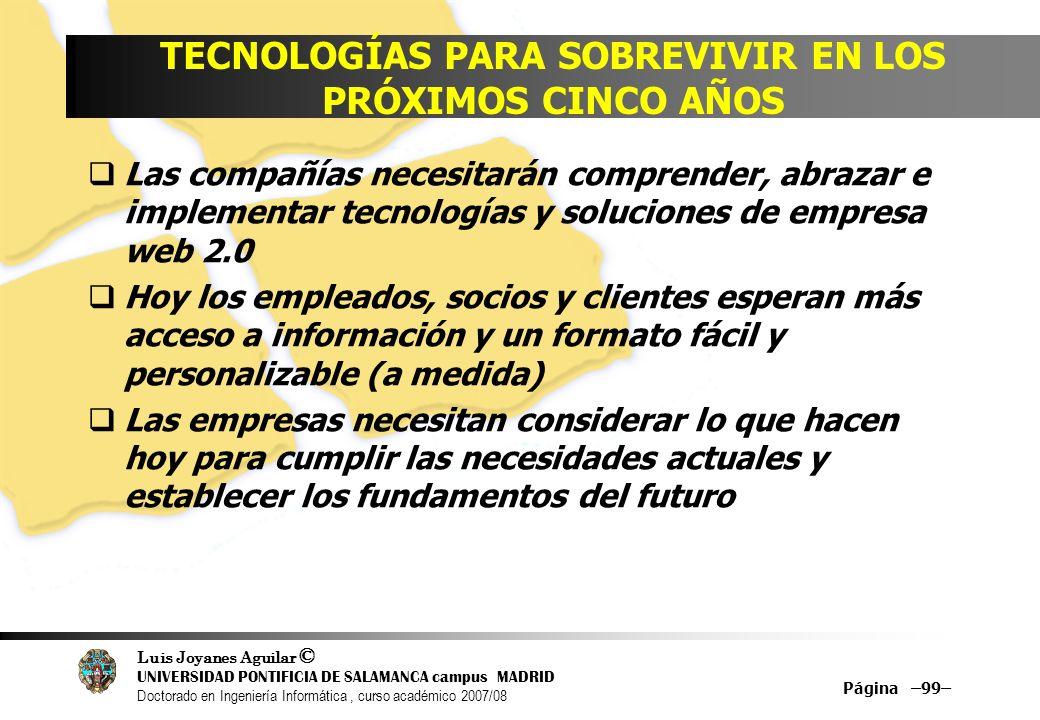 Luis Joyanes Aguilar © UNIVERSIDAD PONTIFICIA DE SALAMANCA campus MADRID Doctorado en Ingeniería Informática, curso académico 2007/08 Página –99– TECN