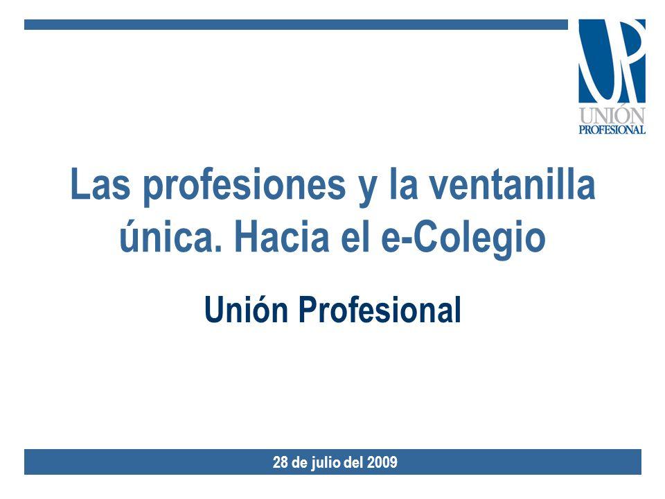 Las profesiones y la ventanilla única. Hacia el e-Colegio Unión Profesional 28 de julio del 2009