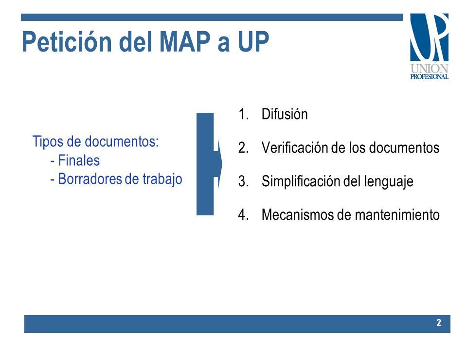Petición del MAP a UP 1.Difusión 2.Verificación de los documentos 3.Simplificación del lenguaje 4.Mecanismos de mantenimiento 2 Tipos de documentos: -