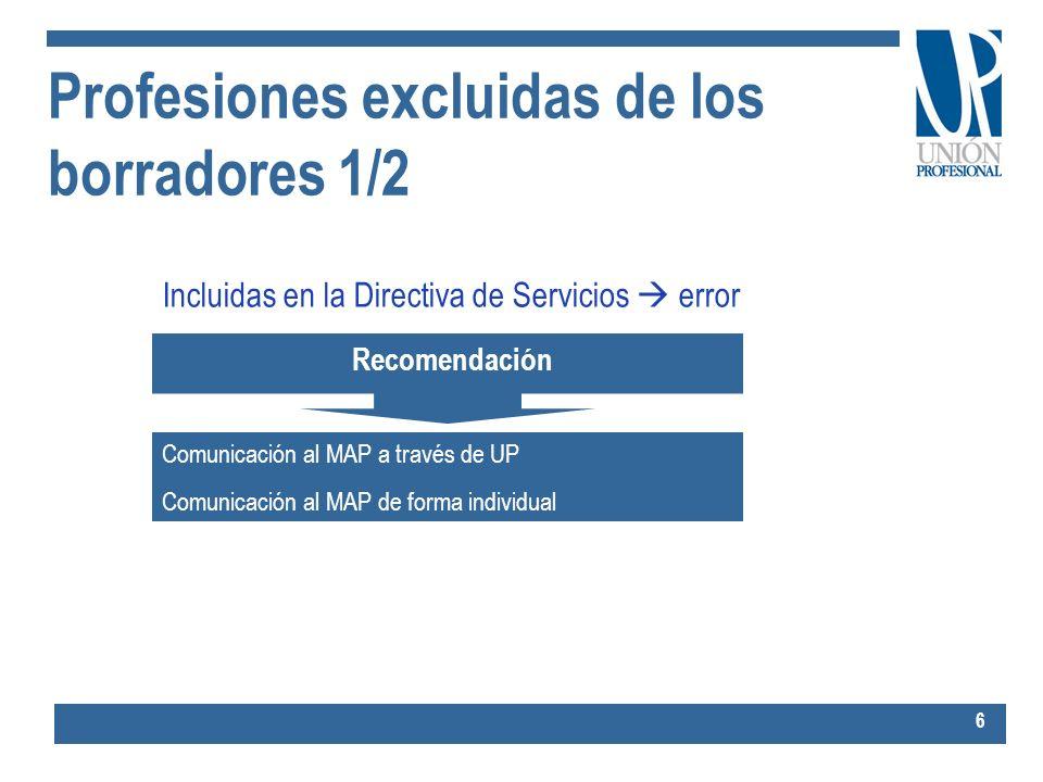 Profesiones excluidas de los borradores 1/2 6 Incluidas en la Directiva de Servicios error Recomendación Comunicación al MAP a través de UP Comunicaci