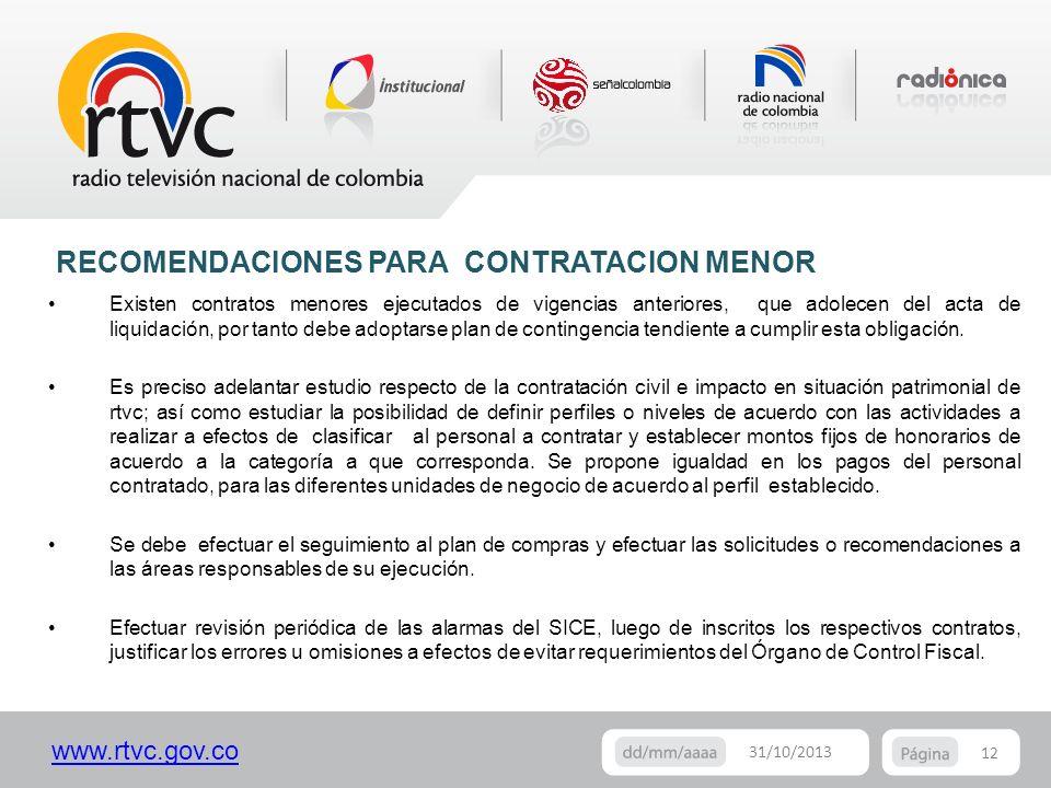 www.rtvc.gov.co 12 31/10/2013 Existen contratos menores ejecutados de vigencias anteriores, que adolecen del acta de liquidación, por tanto debe adopt