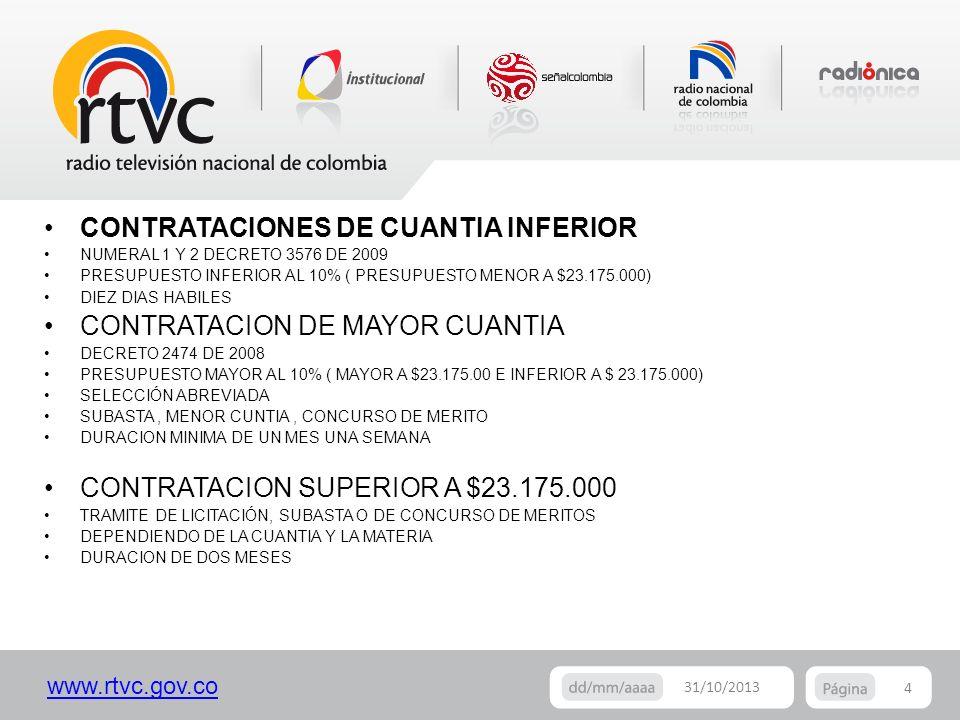 www.rtvc.gov.co 4 31/10/2013 CONTRATACIONES DE CUANTIA INFERIOR NUMERAL 1 Y 2 DECRETO 3576 DE 2009 PRESUPUESTO INFERIOR AL 10% ( PRESUPUESTO MENOR A $