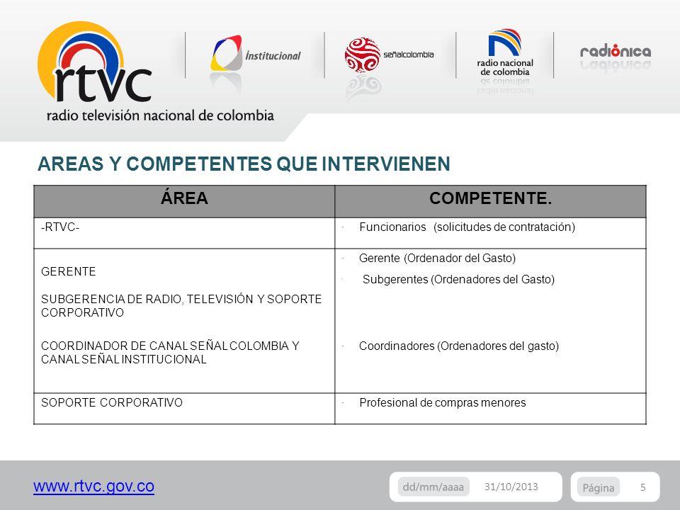 www.rtvc.gov.co 5 31/10/2013 AREAS Y COMPETENTES QUE INTERVIENEN ÁREACOMPETENTE. -RTVC-· Funcionarios (solicitudes de contratación) GERENTE SUBGERENCI