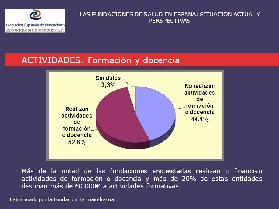 ACTIVIDADES. Formación y docencia LAS FUNDACIONES DE SALUD EN ESPAÑA: SITUACIÓN ACTUAL Y PERSPECTIVAS Más de la mitad de las fundaciones encuestadas r