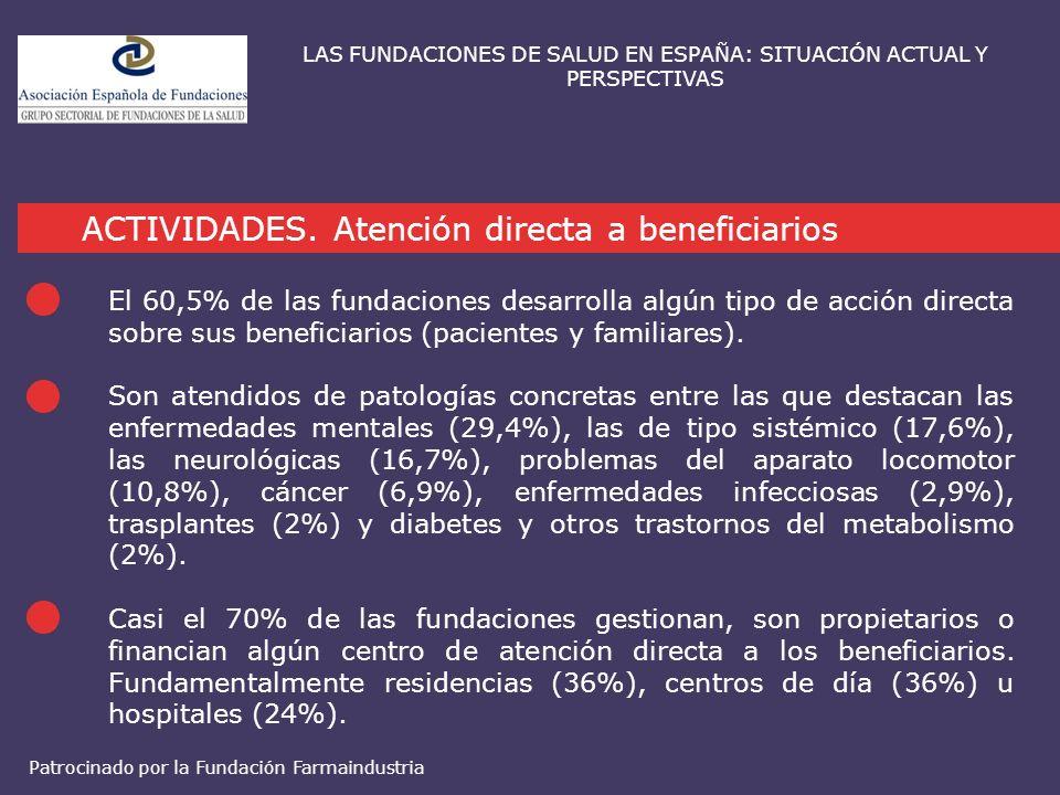 ACTIVIDADES. Atención directa a beneficiarios LAS FUNDACIONES DE SALUD EN ESPAÑA: SITUACIÓN ACTUAL Y PERSPECTIVAS El 60,5% de las fundaciones desarrol