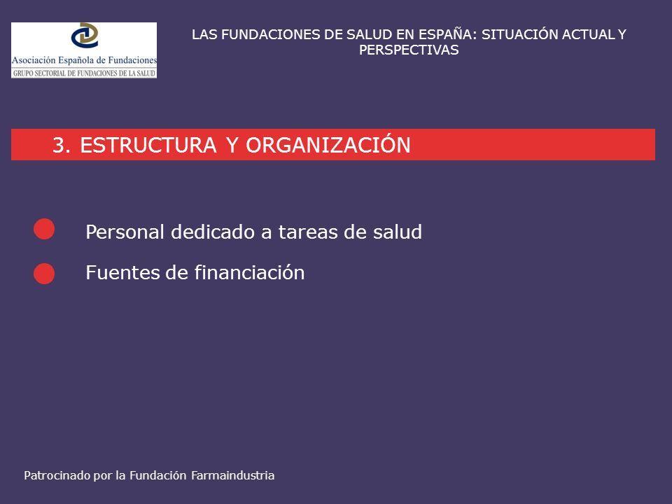 Fuentes de financiación 3. ESTRUCTURA Y ORGANIZACIÓN LAS FUNDACIONES DE SALUD EN ESPAÑA: SITUACIÓN ACTUAL Y PERSPECTIVAS Personal dedicado a tareas de
