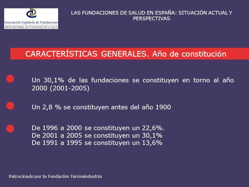 Un 30,1% de las fundaciones se constituyen en torno al año 2000 (2001-2005) CARACTERÍSTICAS GENERALES. Año de constitución LAS FUNDACIONES DE SALUD EN